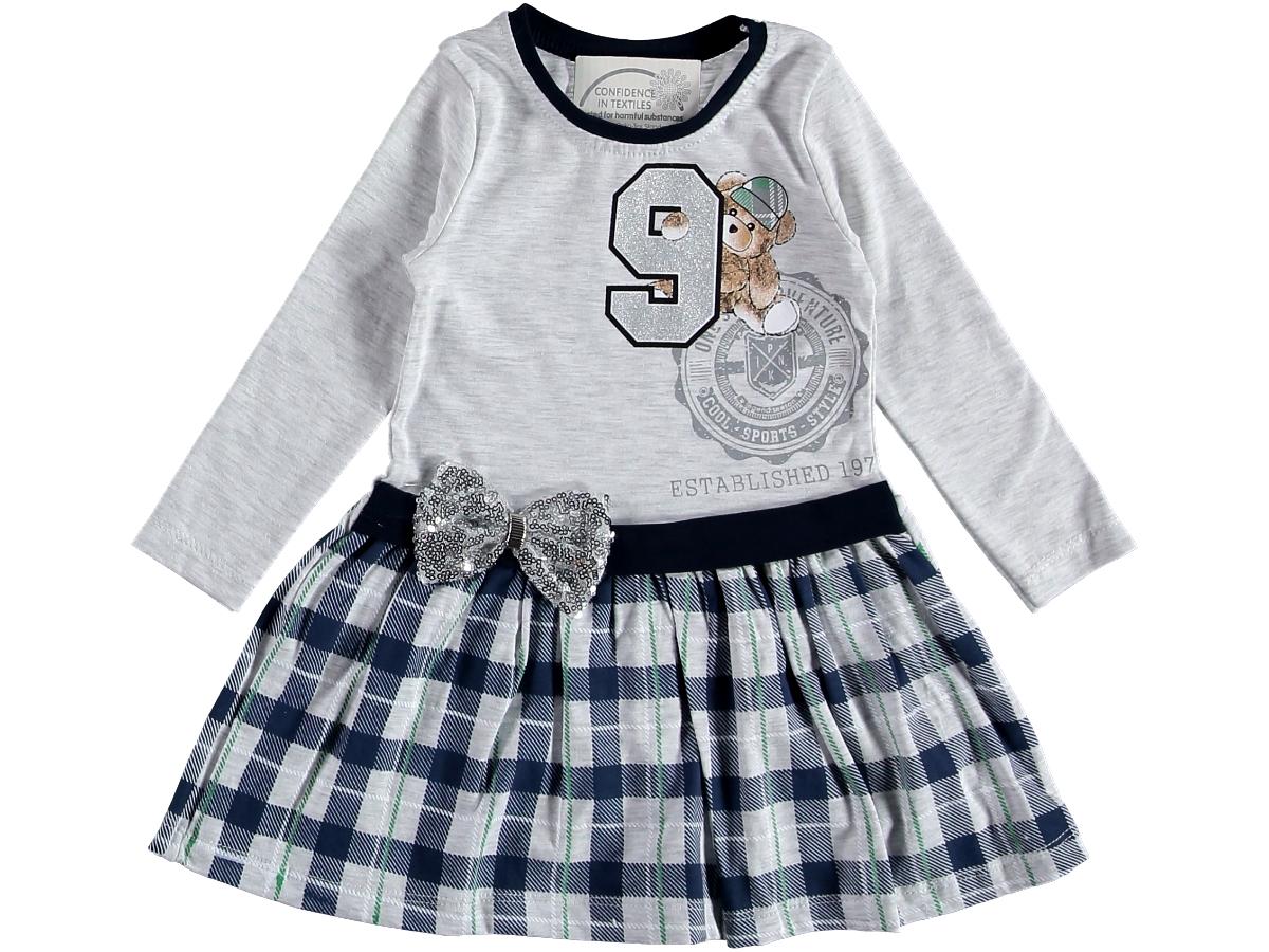 Платье на девочку серое трикотаж 1/3 года 317335